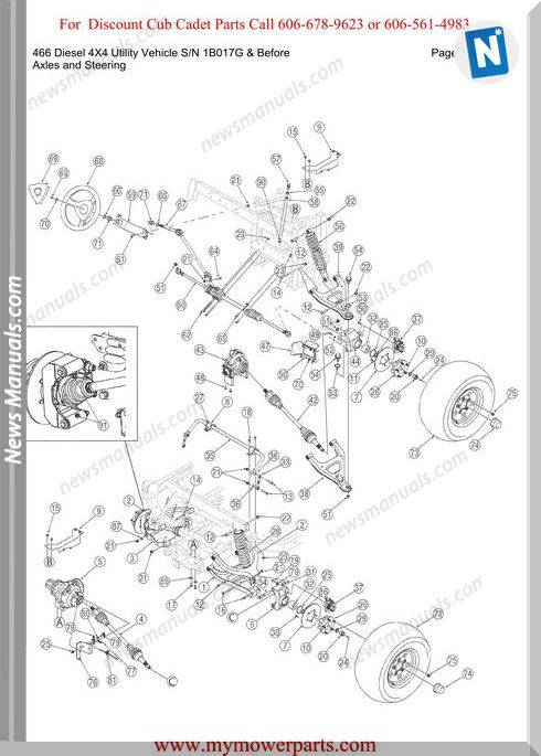 Cub Cadet Parts Manual 466 Diesel 4X4 Sn1B017G-Before
