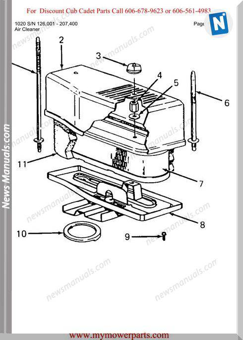 Cub Cadet Parts Manual For Model 1020 Sn 126001 207400