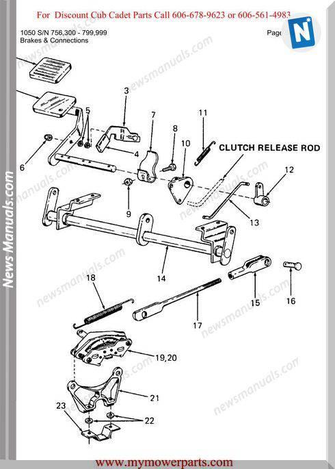 Cub Cadet Parts Manual For Model 1050 Sn 756300 799999