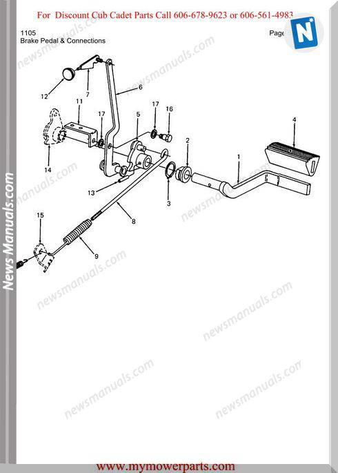 Cub Cadet Parts Manual For Model 1105