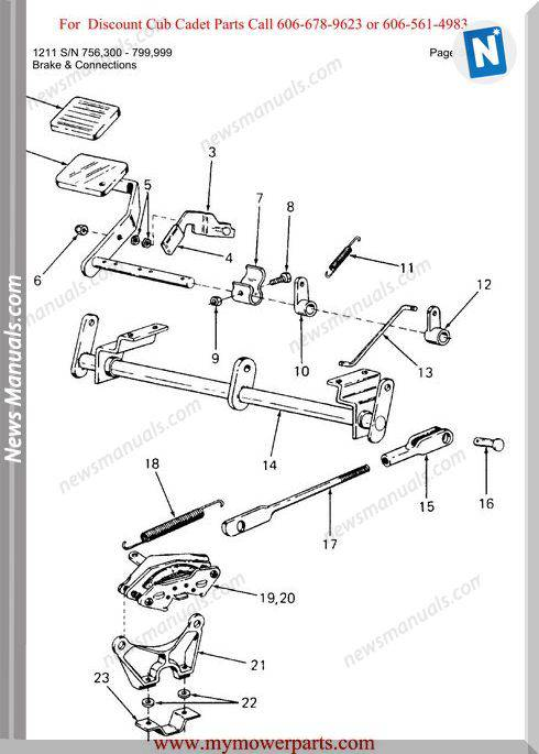 Cub Cadet Parts Manual For Model 1211 Sn 756300 799999