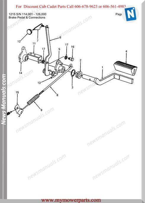 Cub Cadet Parts Manual For Model 1215 Sn 114001 126000