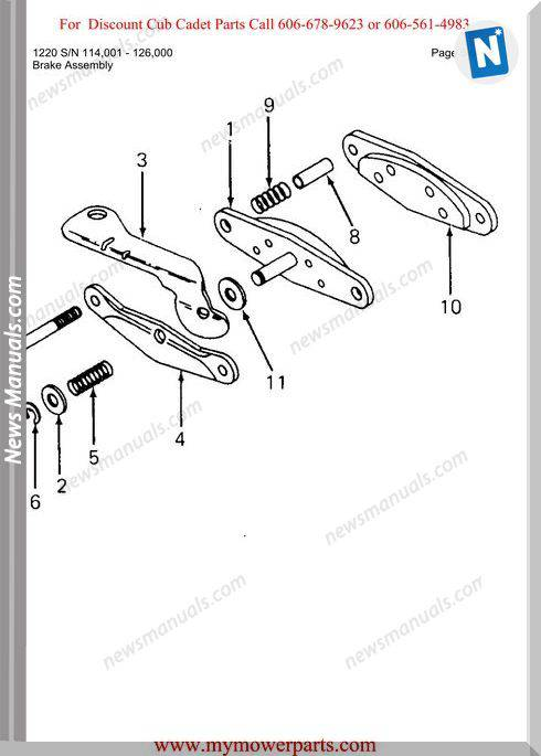 Cub Cadet Parts Manual For Model 1220 Sn 114001 126000