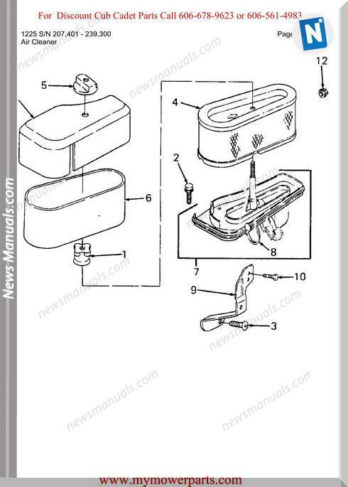 Cub Cadet Parts Manual For Model 1225 Sn 207401 239300
