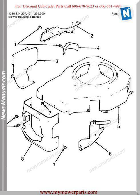 Cub Cadet Parts Manual For Model 1330 Sn 207401 239300