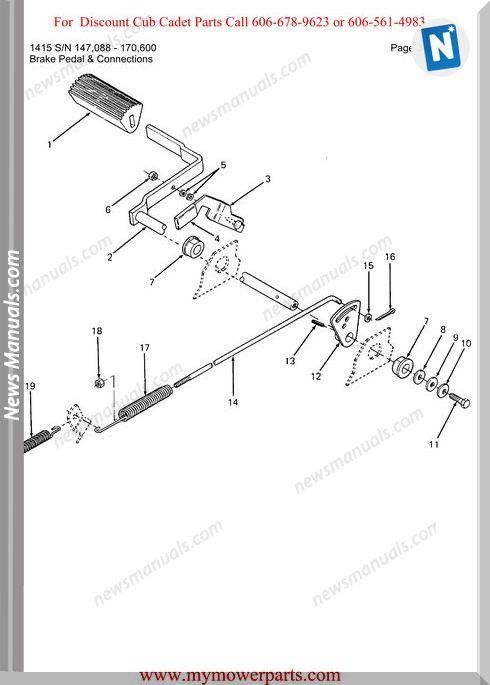 Cub Cadet Parts Manual For Model 1415 Sn 147088 170600