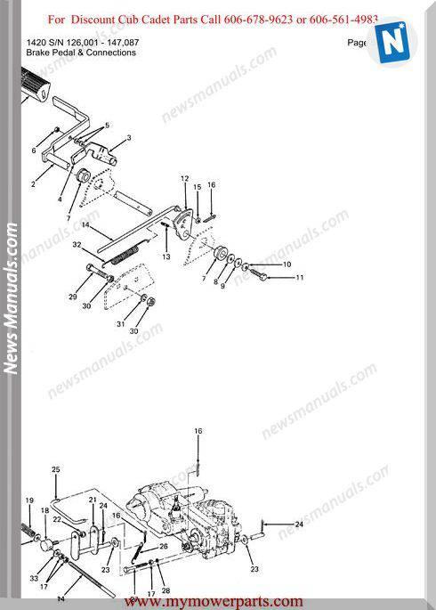 Cub Cadet Parts Manual For Model 1420 Sn 126001 147087