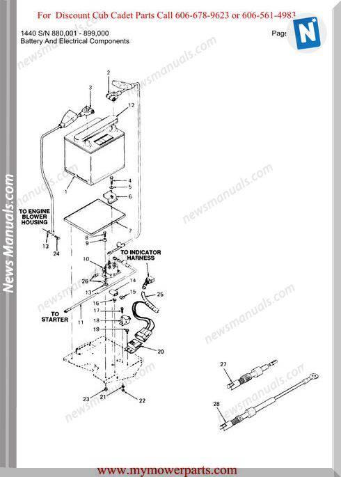 Cub Cadet Parts Manual For Model 1440 Sn 880001 899000