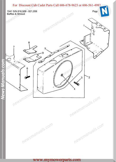 Cub Cadet Parts Manual For Model 1541 Sn 816509 821059