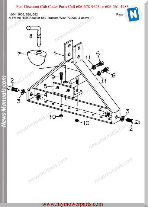 Cub Cadet Parts Manual For Model 1604 1606 580 582