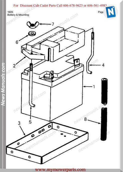 Cub Cadet Parts Manual For Model 1605