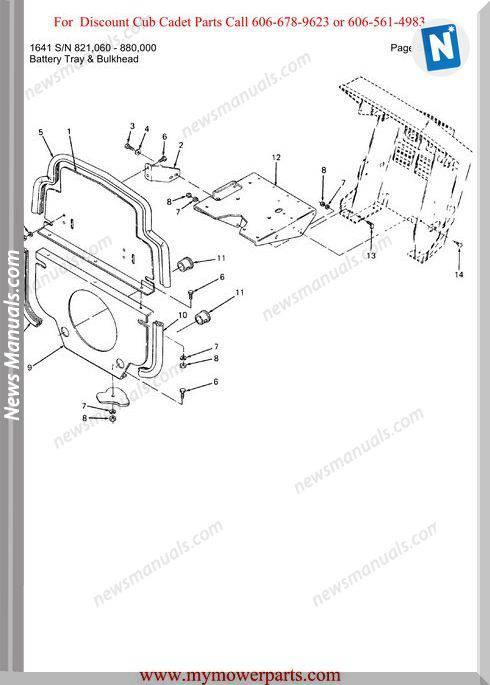 Cub Cadet Parts Manual For Model 1641 Sn 821060 880000