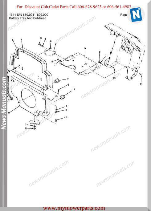 Cub Cadet Parts Manual For Model 1641 Sn 880001 899000