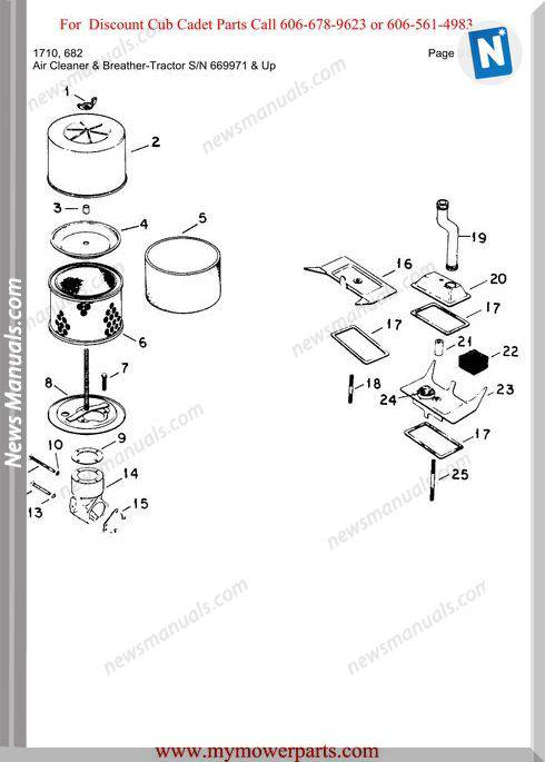 Cub Cadet Parts Manual For Model 1710 682
