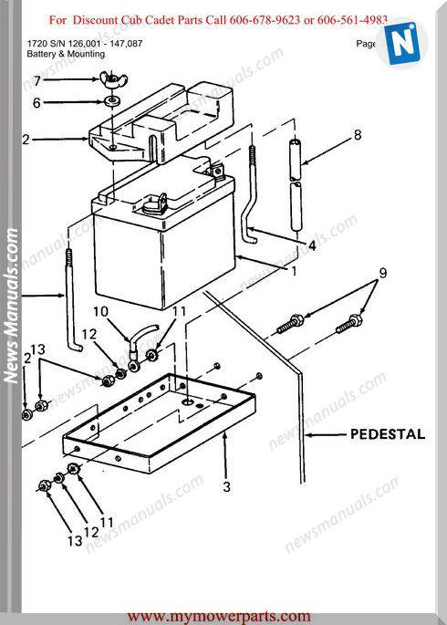 Cub Cadet Parts Manual For Model 1720 Sn 126001 147087