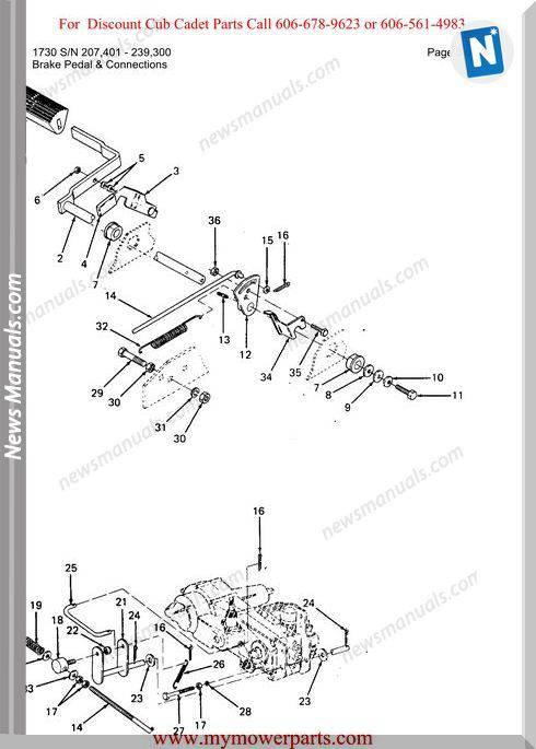 Cub Cadet Parts Manual For Model 1730 Sn 207401 239300