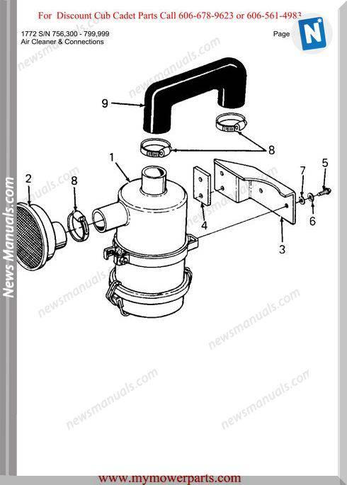 Cub Cadet Parts Manual For Model 1772 Sn 756300 799999