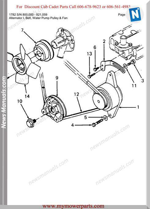 Cub Cadet Parts Manual For Model 1782 Sn 800000 821059