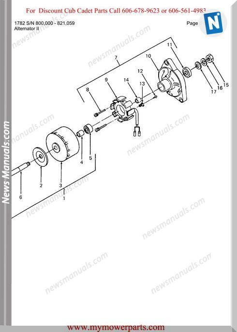 Cub Cadet Parts Manual For Model 1782 Sn 800000 821059