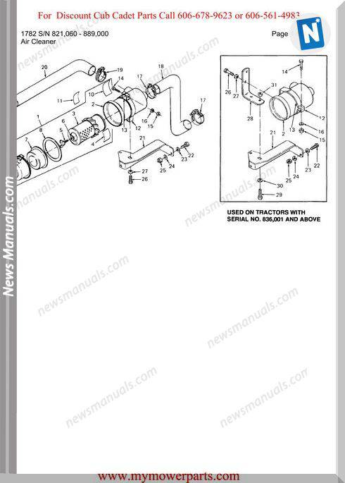 Cub Cadet Parts Manual For Model 1782 Sn 821060 889000