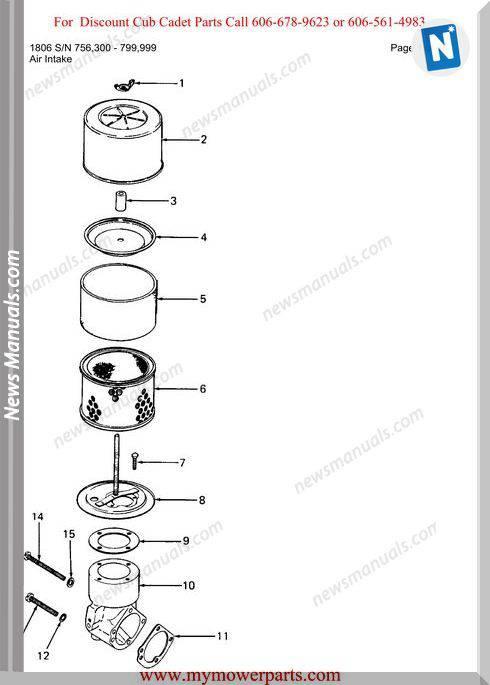 Cub Cadet Parts Manual For Model 1806 Sn 756300 799999