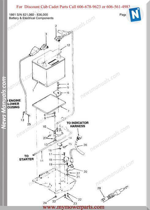 Cub Cadet Parts Manual For Model 1861 Sn 821060 836000