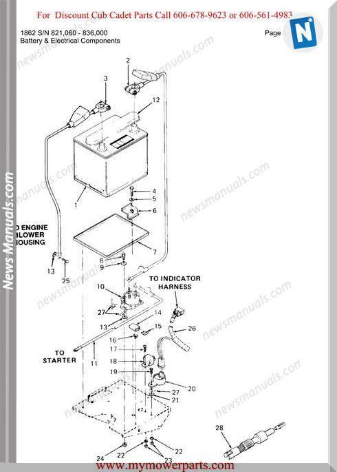 Cub Cadet Parts Manual For Model 1862 Sn 821060 836000