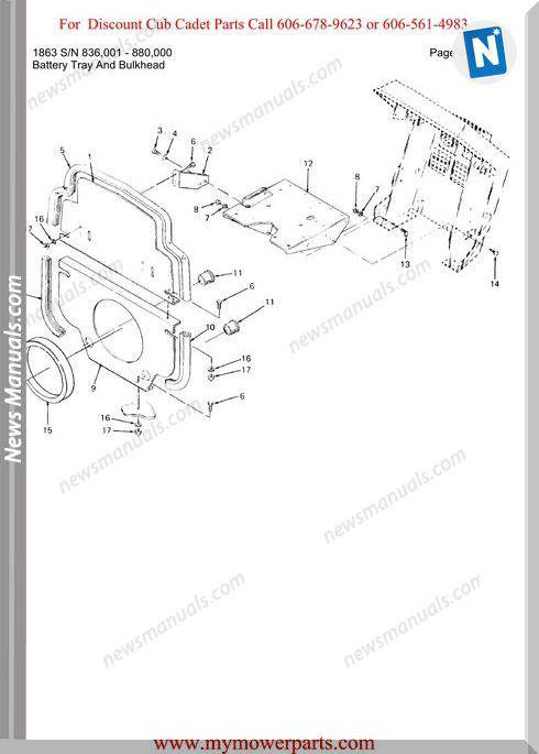 Cub Cadet Parts Manual For Model 1863 Sn 836001 880000