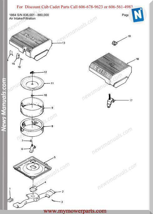 Cub Cadet Parts Manual For Model 1864 Sn 836001 880000