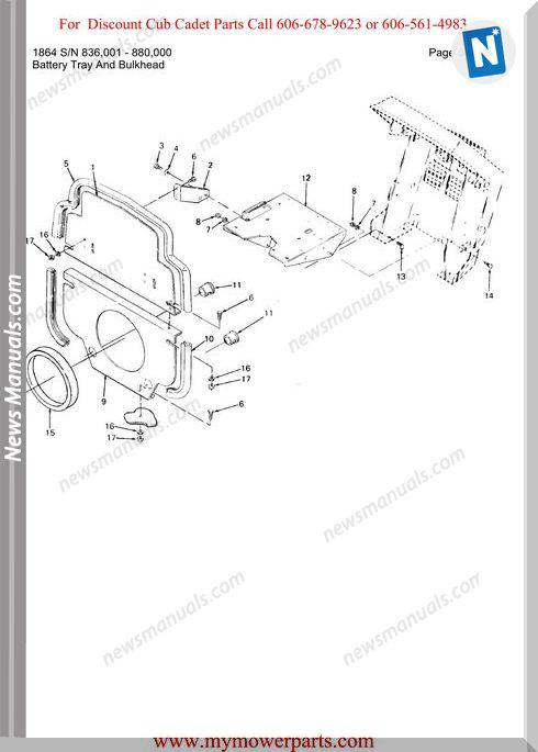 Cub Cadet Parts Manual For Model 1864 Sn 836001 880000
