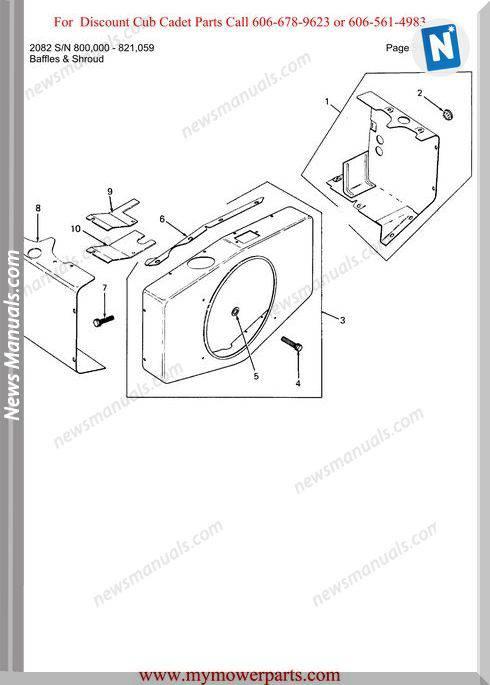Cub Cadet Parts Manual For Model 2082 Sn 800000 821059