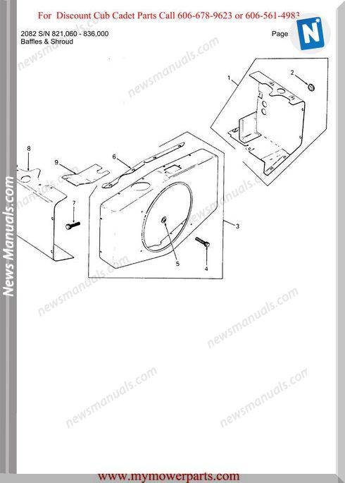 Cub Cadet Parts Manual For Model 2082 Sn 821060 836000