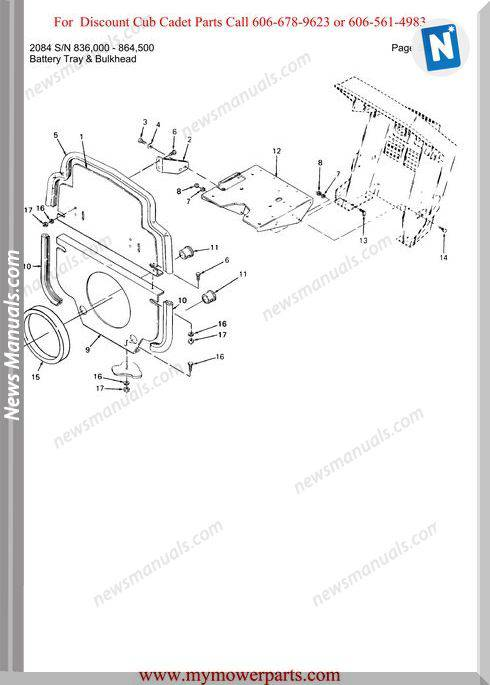 Cub Cadet Parts Manual For Model 2084 Sn 836000 864500