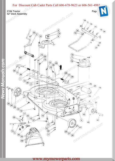 Cub Cadet Parts Manual For Model 2164 Tractor
