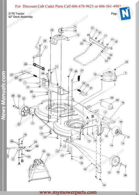 Cub Cadet Parts Manual For Model 2176 Tractor