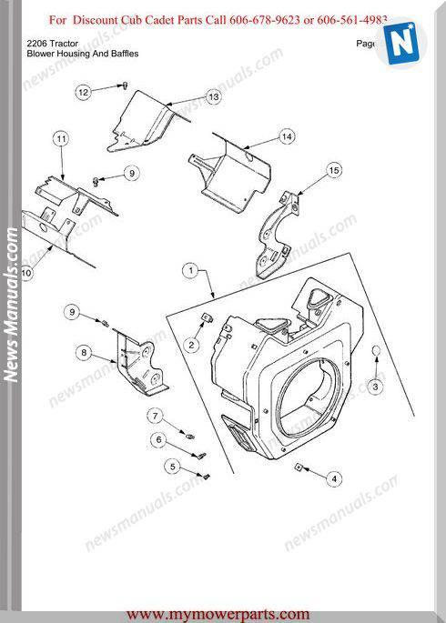 Cub Cadet Parts Manual For Model 2206 Tractor