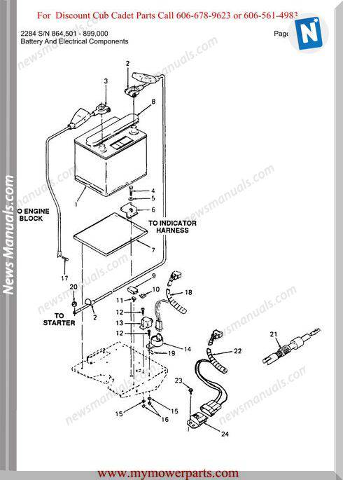 Cub Cadet Parts Manual For Model 2284 Sn 864501 899000