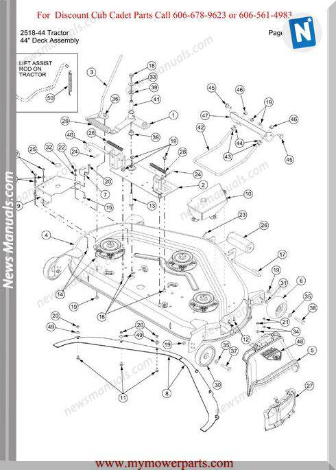 Cub Cadet Parts Manual For Model 2518 44 Tractor