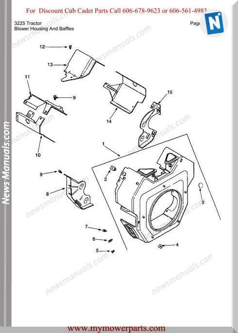 Cub Cadet Parts Manual For Model 3225 Tractor