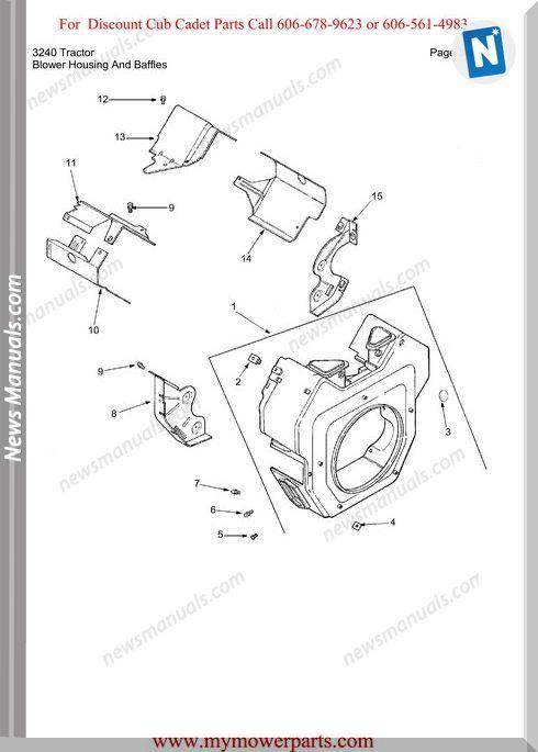 Cub Cadet Parts Manual For Model 3240 Tractor
