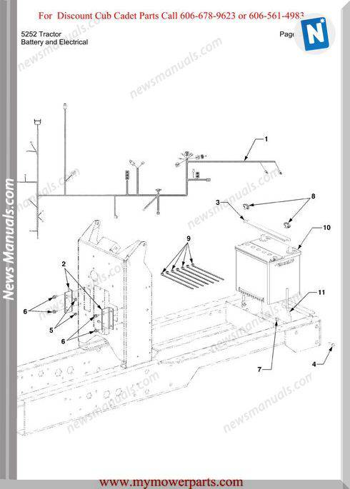 Cub Cadet Parts Manual For Model 5252 Tractor