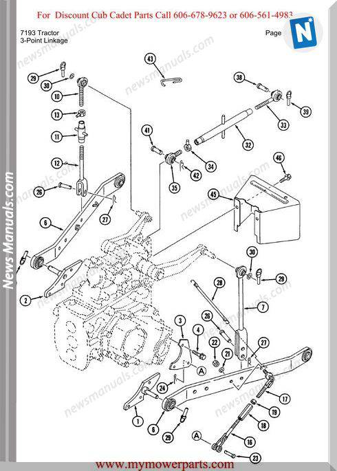 Cub Cadet Parts Manual For Model 7193 Tractor