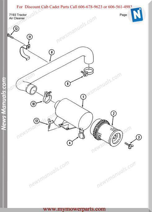 Cub Cadet Parts Manual For Model 7193 Tractor