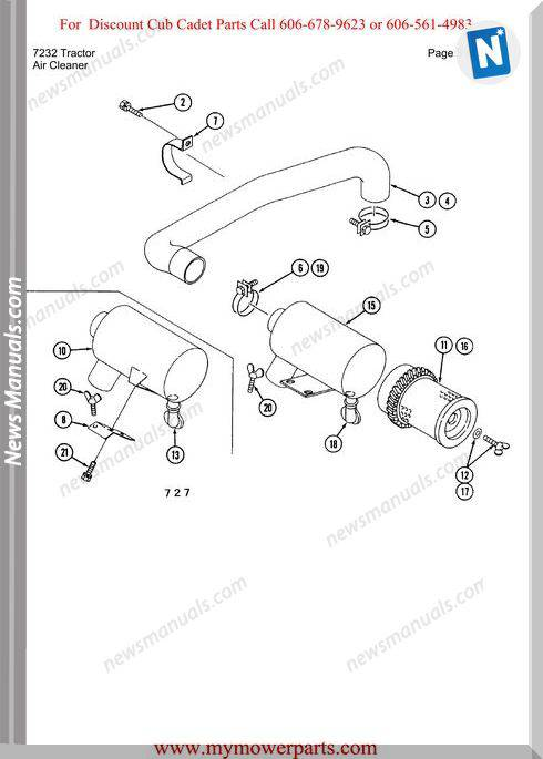 Cub Cadet Parts Manual For Model 7232 Tractor