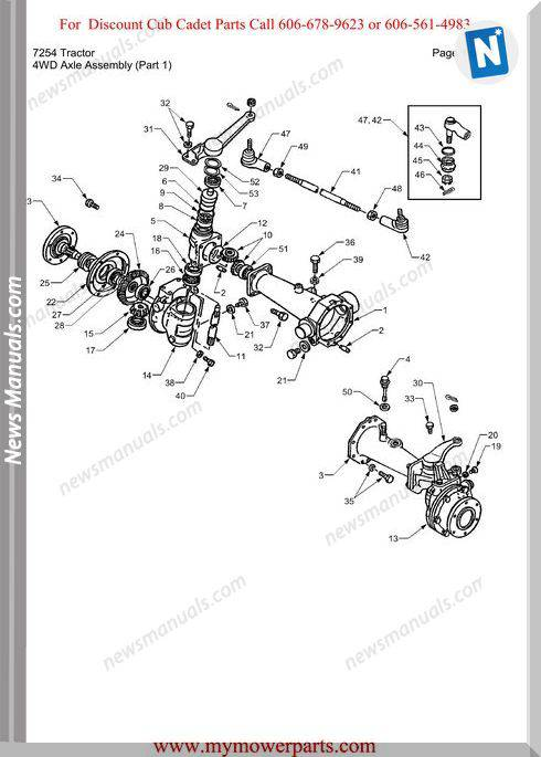 Cub Cadet Parts Manual For Model 7254 Tractor