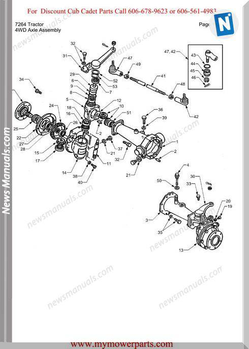 Cub Cadet Parts Manual For Model 7264 Tractor