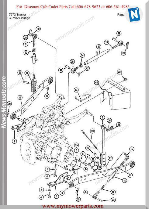 Cub Cadet Parts Manual For Model 7273 Tractor
