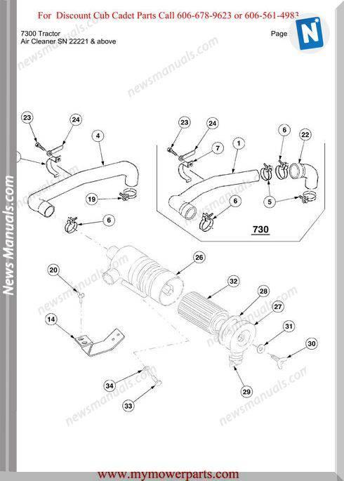 Cub Cadet Parts Manual For Model 7300 Tractor