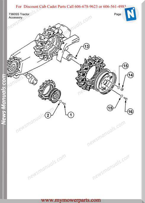 Cub Cadet Parts Manual For Model 7360Ss Tractor