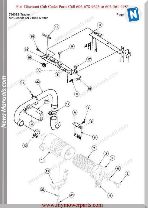 Cub Cadet Parts Manual For Model 7360Ss Tractor